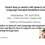 Parent drop in session: Supporting your child's speaking and listening through play.